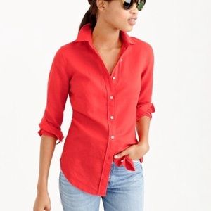 J. Crew Coral Cotton Linen Perfect Shirt